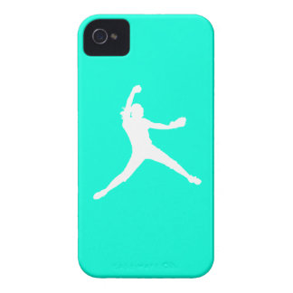 iPhone 4 Fastpitch Silhouette White on Turquoise iPhone 4 Covers
