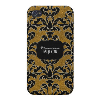 Iphone 4 - Glitter Floral Leaf Swirl Damask Bling Cases For iPhone 4