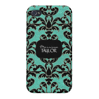 Iphone 4 - Glitter Floral Leaf Swirl Damask Bling Case For iPhone 4