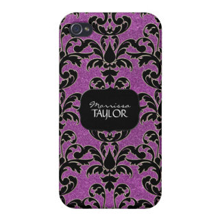 Iphone 4 - Glitter Floral Leaf Swirl Damask Bling Covers For iPhone 4