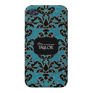 Iphone 4 - Glitter Floral Leaf Swirl Damask Bling iPhone 4 Cover