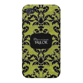 Iphone 4 - Glitter Floral Leaf Swirl Damask Bling iPhone 4/4S Case