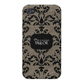 Iphone 4 - Glitter Floral Leaf Swirl Damask Bling iPhone 4/4S Cases
