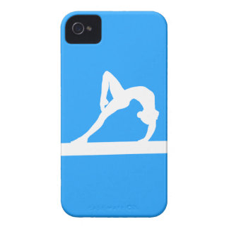 iPhone 4 Gymnast Silhouette White on Blue iPhone 4 Case-Mate Case