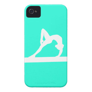 iPhone 4 Gymnast Silhouette White on Turquoise iPhone 4 Case