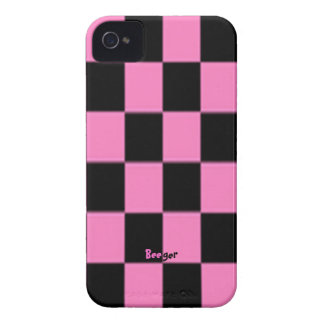 Iphone 4 ID - Pink and Black Checkerboard iPhone 4 Case