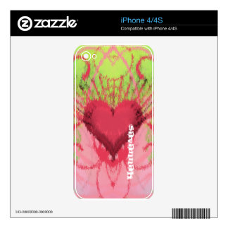 iPhone 4  iKat Heart Swirl Lime and Pink Skin Skin For The iPhone 4S