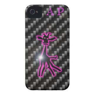 iPhone 4 iniciales púrpuras 3D de la jirafa del ca iPhone 4 Fundas
