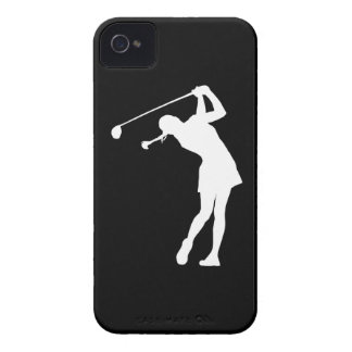 iPhone 4 Lady Golfer Silhouette White on Black iPhone 4 Case-Mate Cases