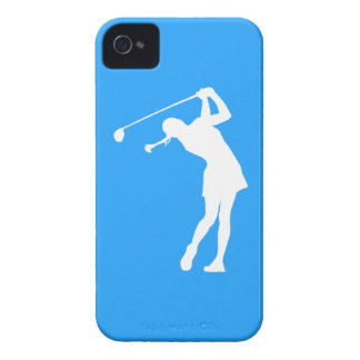 iPhone 4 Lady Golfer Silhouette White on Blue iPhone 4 Cover