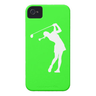 iPhone 4 Lady Golfer Silhouette White on Green iPhone 4 Case