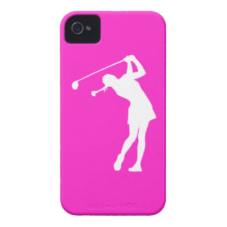 iPhone 4 Lady Golfer Silhouette White on Pink iPhone 4 Cover