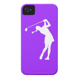 iPhone 4 Lady Golfer Silhouette White on Purple iPhone 4 Case-Mate Case