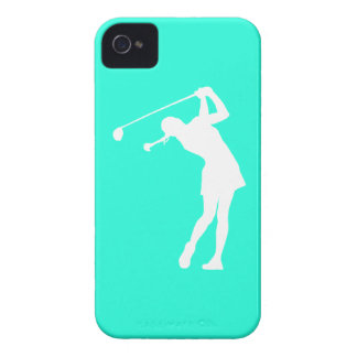 iPhone 4 Lady Golfer Silhouette White on Turquoise iPhone 4 Cover