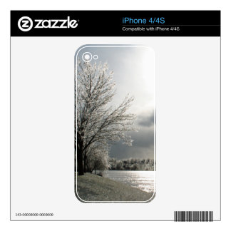 iPhone 4 skin with photo of icy winter landscape