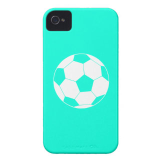iPhone 4 Soccer Ball Silhouette Turquoise iPhone 4 Case-Mate Case