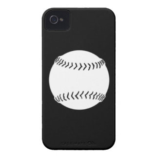 iPhone 4 Softball Silhouette White on Black Case-Mate iPhone 4 Case