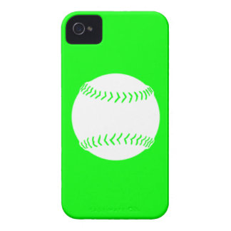 iPhone 4 Softball Silhouette White on Green iPhone 4 Case