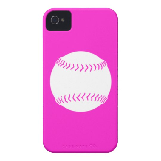 iPhone 4 Softball Silhouette White on Pink iPhone 4 Cover