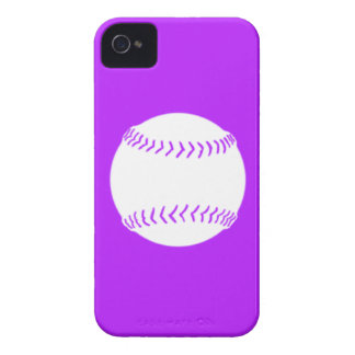 iPhone 4 Softball Silhouette White on Purple iPhone 4 Case