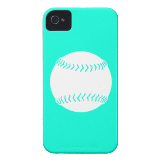 iPhone 4 Softball Silhouette White on Turquoise iPhone 4 Case-Mate Case