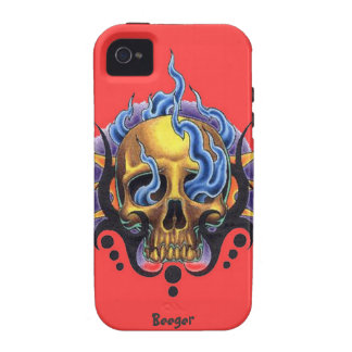 Iphone 4 tough - Old Skool Tattoo Skull with Flame Case-Mate iPhone 4 Cover