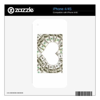 iPhone 4s case heart of money Decals For iPhone 4S