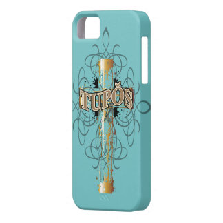 iPhone 5/5S Case Turquoise /Gold Dripping Cross