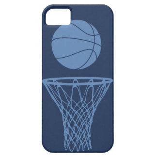 iPhone 5 Basketball Silhouette Light Blue on Dark iPhone SE/5/5s Case