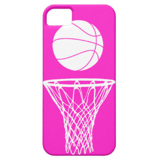 iPhone 5 Basketball Silhouette White on Pink iPhone SE/5/5s Case