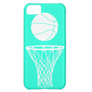 iPhone 5 Basketball Silhouette White on Turquoise iPhone 5C Covers