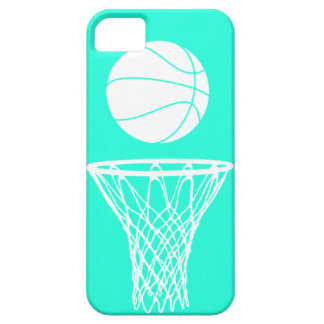 iPhone 5 Basketball Silhouette White on Turquoise iPhone SE/5/5s Case