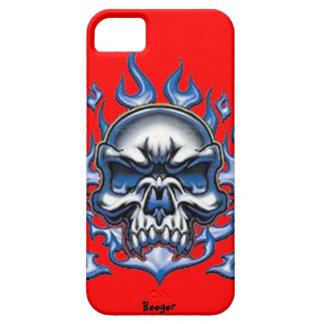 Iphone 5 BT - cráneo cristalino con las llamas iPhone 5 Fundas