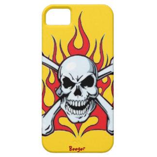 Iphone 5 BT - Metal el cráneo con las llamas iPhone 5 Fundas