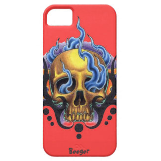 Iphone 5 bt - Old Skool Tattoo Skull with Flames iPhone 5 Covers