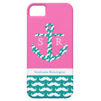 iPhone 5 Case Anchor Mustache Patterned Monogram