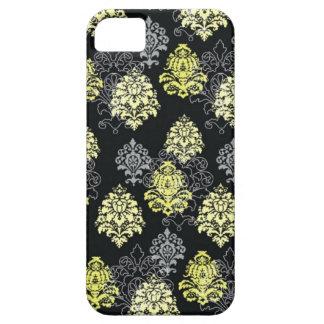 iPhone 5 case-Citron and Black Damask iPhone SE/5/5s Case