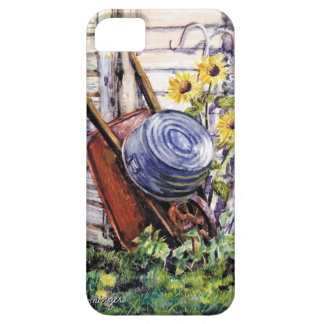 Iphone 5 case  Fine Art  Sunflower & Wheelbarrow