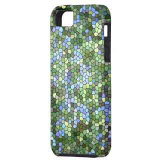"""iPhone 5 Case, """"Greens and Blues Stained Glass"""" iPhone SE/5/5s Case"""