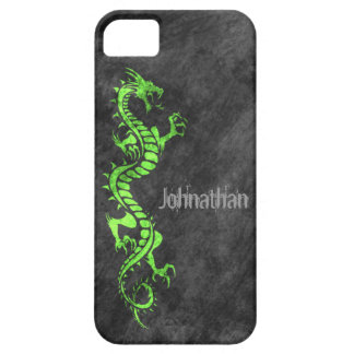 iPhone 5 Case - Grunge Dragon on Black (green)