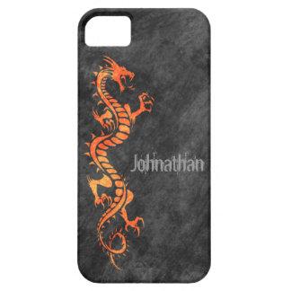 iPhone 5 Case - Grunge Dragon on Black (orange)