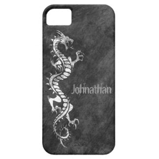 iPhone 5 Case - Grunge Dragon on Black (white)