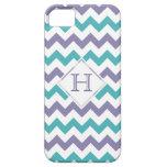 iPhone 5 Case: Monogram: Purple & Blue Chevron