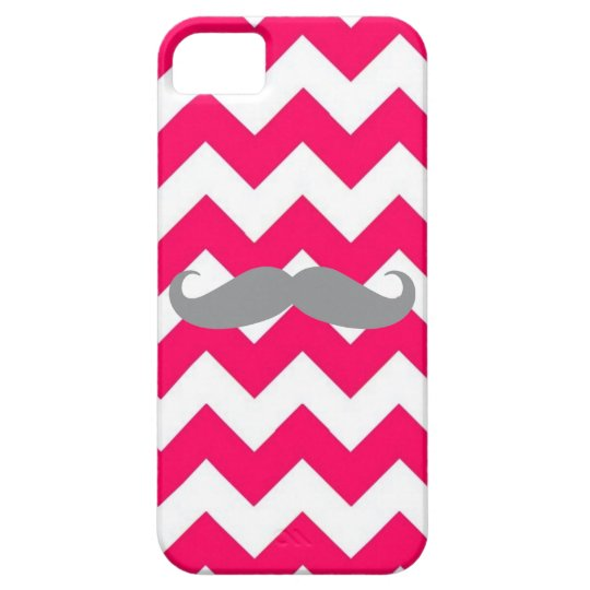 iPhone 5 Case Pink Chevron with Gray Mustache