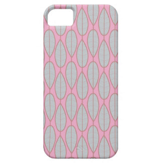 iPhone 5 case - Pink with blue symmetric leaves