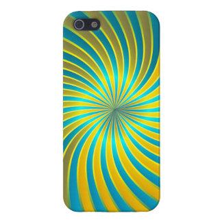 iPhone 5 Case Savvy blue and yellow spiral vortex