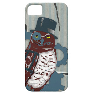 iPhone 5 Case w/Steampunk Owl on Ripped Wallpaper