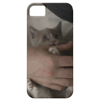 iPhone 5 case with kitten wrestling a human's hand