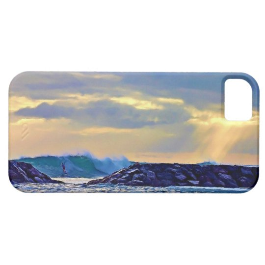 iphone 5 Case with surfer riding a wave at sunset