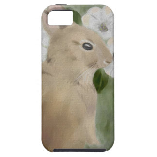 iPhone 5 Case with Watercolor Bunny and Flowers